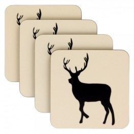 Anorak Kissing Stags set of 4 Coasters