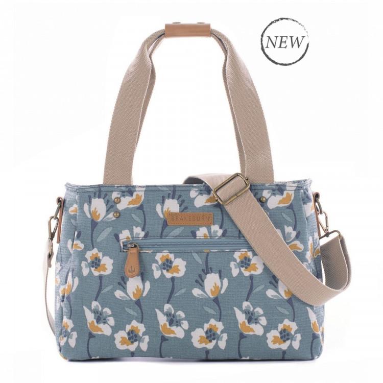 Brakeburn Large Floral Shoulder Bag Blue - BBLBAG001660F17