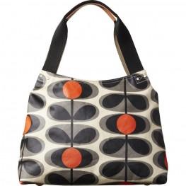 Orla Kiely Matt Laminated Flower Oval Stem Classic Shoulder Bag, Granite