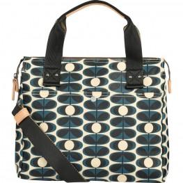 Orla Kiely Matt Laminated Flower Oval Stem Zip Messenger Bag, Indigo